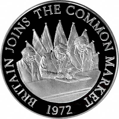 1972 Britain Joins the Common Market on Obverse of 1977 Silver Medallion