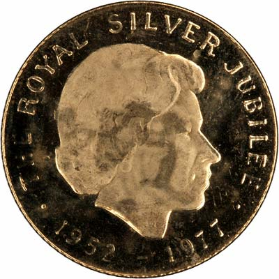 Obverse of 1977 Silver Jubilee Medallion
