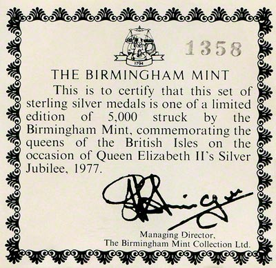 1977 Queens of the British Isles Collection Certificate