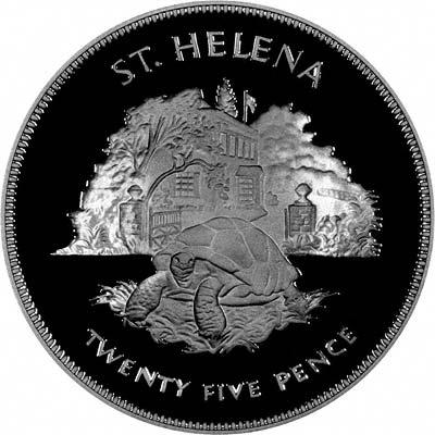 Reverse of 1977 Saint Helena Silver Jubilee Silver Proof Crown