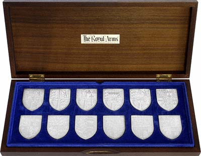 Boxed Set of Twelve 1977 Royal Arms Silver Ingot Medallions for the Queen's Silver Jubilee
