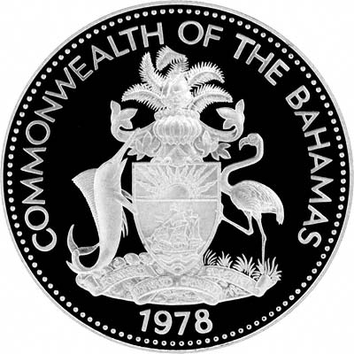 Obverse of 1978 Bahamas Silver Proof 10 Dollars