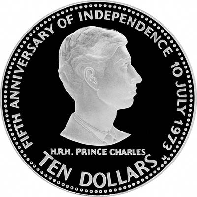 Prince Charles on Reverse of 1978 Bahamas Silver Proof 10 Dollars