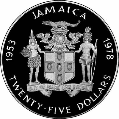 Obverse of 1978 Jamaican Silver Proof 25 Dollars