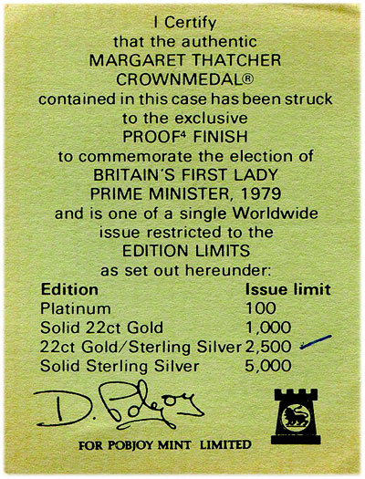 1979 margaret thatcher cert