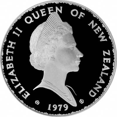 Unusual Portrait of the Queen on Obverse of 1979 New Zealand Silver Proof Silver One Dollar