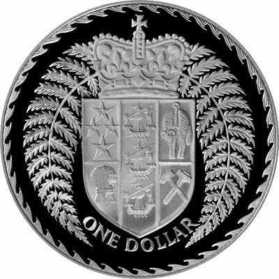 Coat of Arms on Reverse of 1979 New Zealand Silver Proof Silver One Dollar