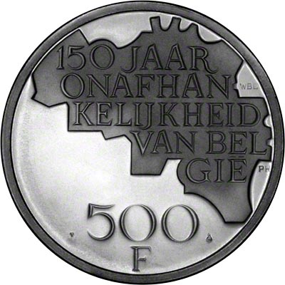 Reverse of 1980 Belgian 500 Francs - Dutch Legend