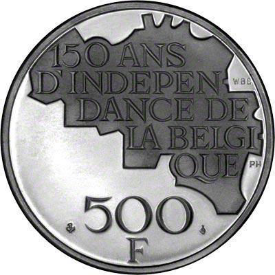 Reverse of 1980 Belgian 500 Francs- French Legend