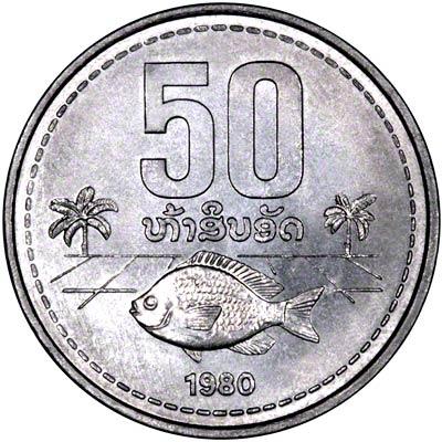 Reverse of 1980 Laotian 50 Att