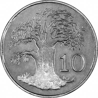 Baobob Tree on Reverse of 1980 Zimbabwean Proof 10 Cents