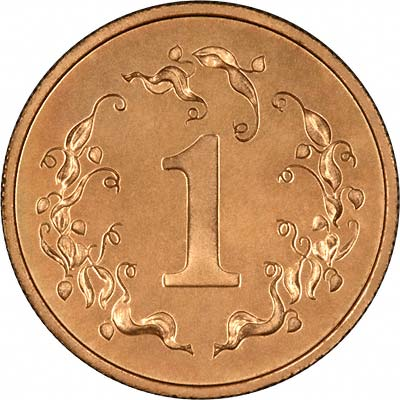 Denomination '1' in a Border of Flame Lilies on Reverse of 1980 Zimbabwean Proof 1 Cent