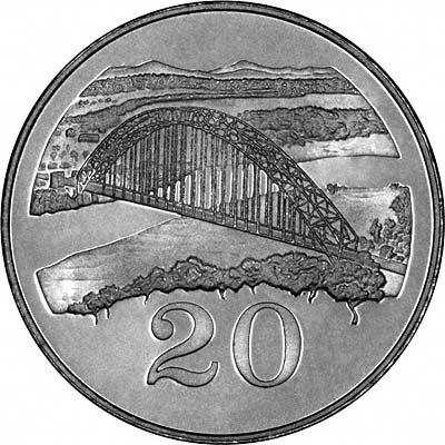 Birchenough Bridge Crossing the Sabi River on Reverse of 1980 Zimbabwean Proof 20 Cents