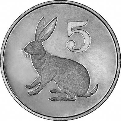 Rabbit on Reverse of 1980 Zimbabwean Proof 5 Cents