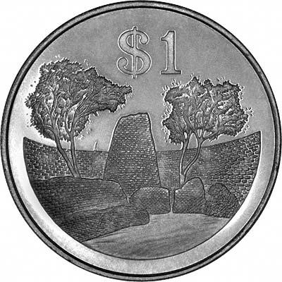 Zimbabwe Ruins on Obverse of 1980 Zimbabwean Dollar