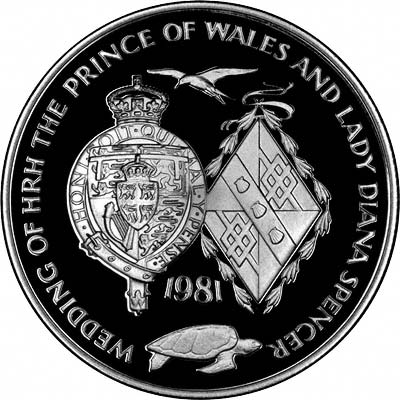 Charles' & Diana's Coats of Arms on Reverse of 1981 Ascension Silver Proof Crown