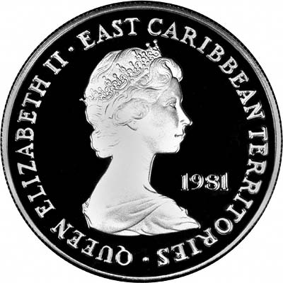 Obverse of 1981 East Caribbean Territories Silver 10 Dollars