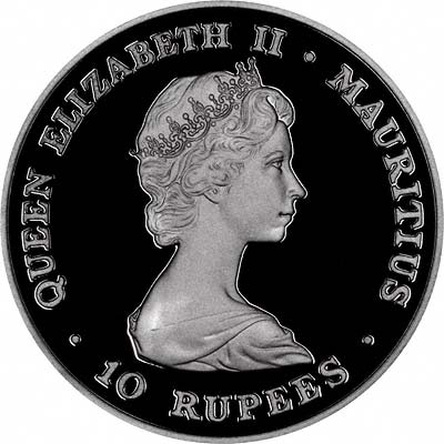 Obverse of 1981 Mauritius Silver Proof Crown