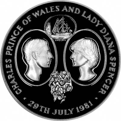 Reverse of 1981 St. Helena Crown Featuring Portraits of Prince Charles & Lady Diana Spencer