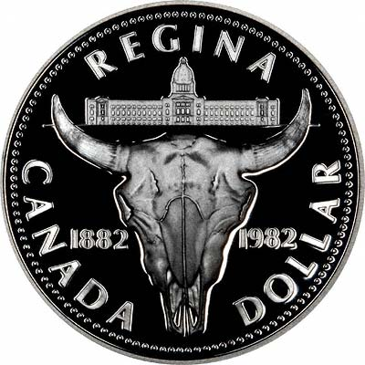 Reverse of 1982 Canada Silver Dollar - Regina