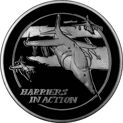 Reverse of Silver Medallion - Harriers in Action