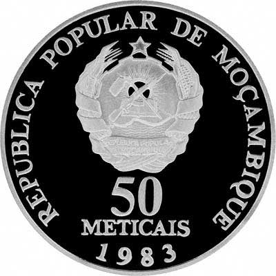 Obverse of 1983 Mozambique 50 Meticais - World Fishing Conference Silver Coin