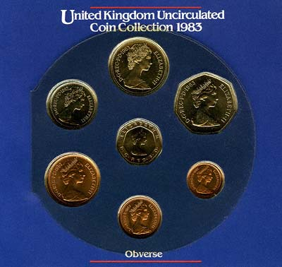 Obverse of the 1983 Seven Coin Uncirculated Set