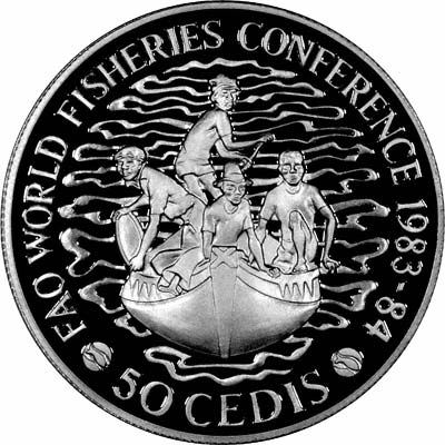 Reverse of 1983 Silver Proof World Fisheries Conference 50 Cedis Coin