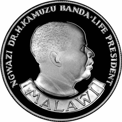 Obverse of 1985 Silver Proof 10 Kwacha