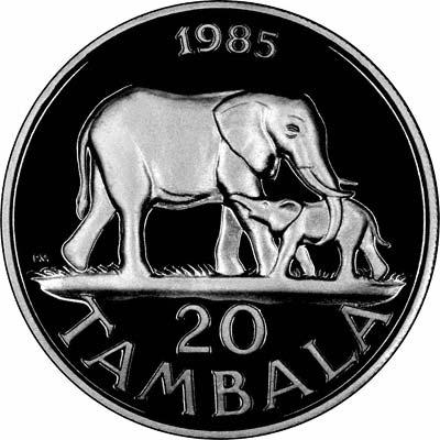 Obverse of 1985 Proof 20 Tambala