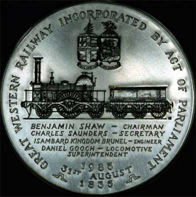 Obverse of 1935 Great Western Railway 150th Anniversary 1835 Silver Medallion