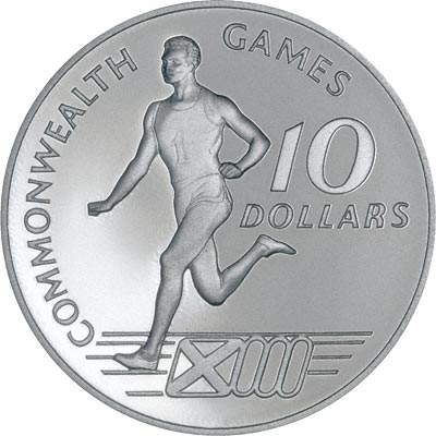 Runner on Reverse of 1986 Bahamas Commonealth Games Silver Proof 10 Dollars