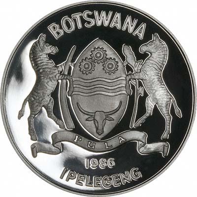 Obverse of 1988 Botswana 5 Pulas