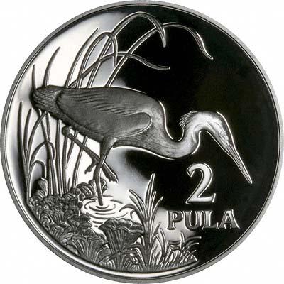 Slaty Egret on Reverse of 1986 Botswana Silver Proof 2 Pula