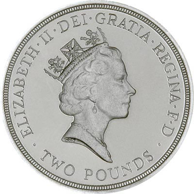 Obverse of 1986 Silver Proof £2 Coin