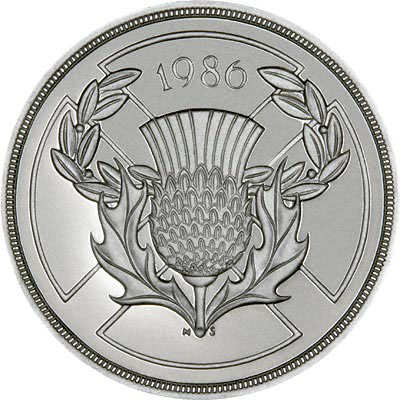 Scottish thistle on Reverse of 1986 Silver Proof Commonwealth Games Two Pounds