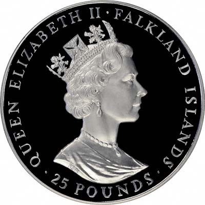 Obverse of 1986 Falkland Islands £25 Silver Proof Crown