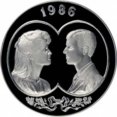 Reverse of 1986 Falkland Islands £25 Silver Proof Crown