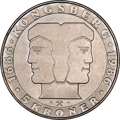 Reverse of 1986 Norwegian 5 Kroner
