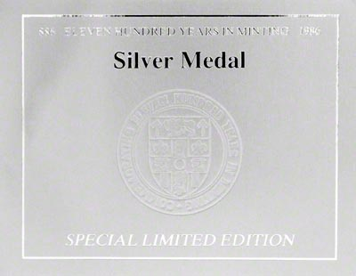 1986 Royal Mint Medallion Certificate