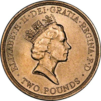 Obverse of Nickel-brass Type Two Pound Coins Issued From 1986 to 1995