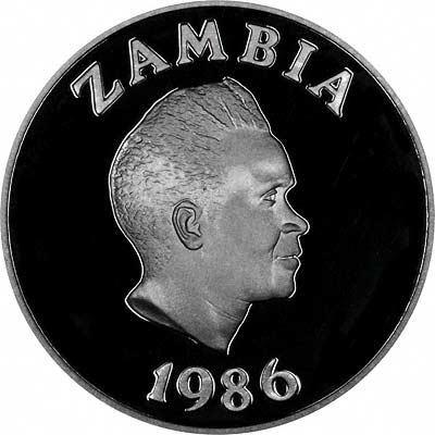 Zambian President Kenneth Kaunda on Obverse of 1986 Zambian Silver Proof 10 Kwacha