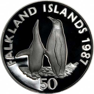 King Penguin on Reverse of 1987 Falkland Islands Silver Proof £25 Crown