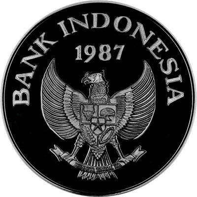 Obverse of 1987 Indonesian Silver Proof 10,000 Rupiah