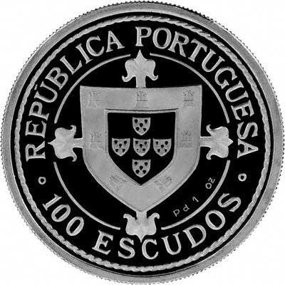 Obverse of 1987 Portugal Palladium 100 Escudos