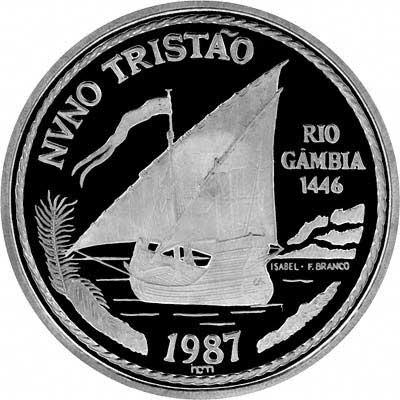 Reverse of 1987 Portugal Palladium 100 Escudos