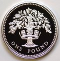 English Oak Tree in Diadem on Reverse of 1987 Pound Coin