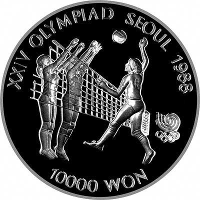 Obverse of 2002 South Korean 10,000 Won Silver Proof