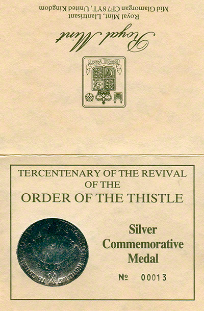 1987 Tercentenary of the Revival of the Order of the Thistle Silver Commemorative Medal Certificate