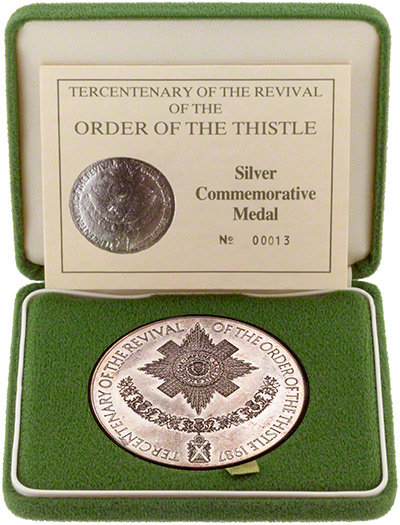 1987 Tercentenary of the Revival of the Order of the Thistle Silver Commemorative Medal in Presentation Box